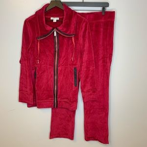 Coldwater Creek Red Velour Jacket and Pants